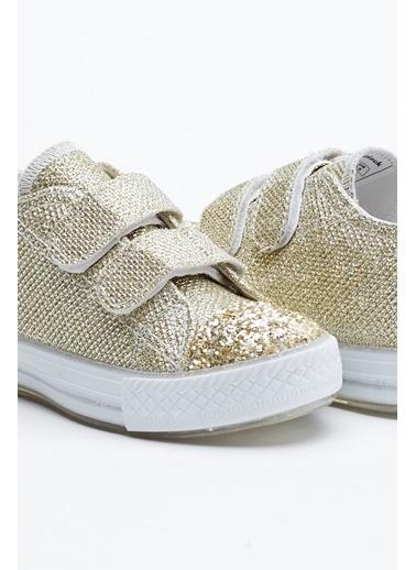 Tonny Black Altın Çocuk Spor Ayakkabı Işıklı Cırtlı Tb997 Altın
